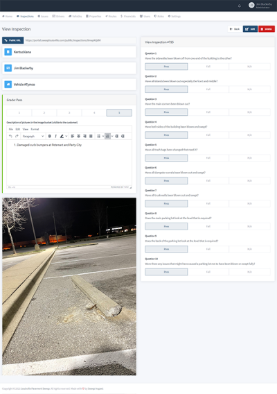 SweepInspect Property Management Street Sweeping Inspection Reporting System